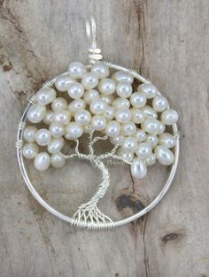 Wedding Tree of Life Pendant Freshwater Pearl Wedding Jewelry Bridesmaid Gift Idea Wire Wrapped Tree Ivory Bridal Woodland Weddings RTS