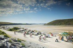 Cycling on a north Devon beach