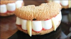 Vampire Teeth Cookies! -- Watch Crouton Crackerjacks create this delicious recipe at http://myrecipepicks.com/26252/CroutonCrackerjacks/vampire-teeth-cookies/