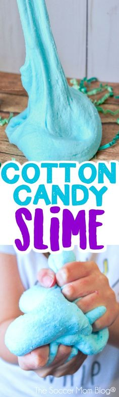 Soft, fluffy, stretchy, and smells JUST like the real thing — this blue cotton candy slime is such a fun sensory play experience! Photo step-by-step instructions inside. #slime #slimerecipe #sensoryplay #cottoncandy #kidsactivities via @soccermomblog
