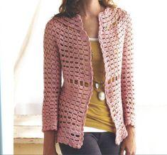 Crochetemoda: Casaco de Crochet Rosa