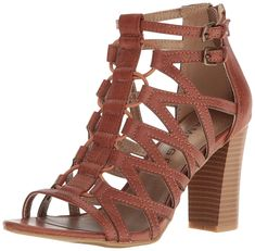 22c491be982 Rampage Women s Elsies Dress Chunky Heel Open Toe Bungee Sandal. Strappy block  heel sandal with