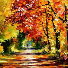bright painting Sunny Path bright oil by AfremovArtStudio