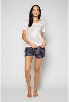 Nothing beats soft cotton pjs for lounging. The Knit Tee / Knit Short Sleep Set has a tee with crew neck and stepped hem and mini shorts with a tie waist. Comes in a matching drawstring pouch. Cotton Pjs, Sleep Set, Drawstring Pouch, Knit Shorts, Bermuda Shorts, Crew Neck, Short Sleeve Dresses, Comfy, Knitting