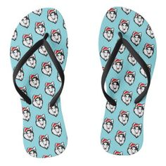 #shelties Dog with Christmas Santa Hat Pattern Flip Flops - #womens #shoes #womensshoes #custom #cool