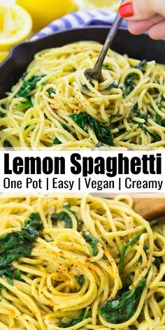These vegan lemon spaghetti with spinach are the perfect recipe for busy weeknights! It's a one pot meal and it's super delicious and comforting. It's one of my favorite vegan dinner recipes. Find more vegan recipes at Easy Appetizer Recipes, Vegan Dinner Recipes, Vegan Dinners, Vegetarian Recipes, Cooking Recipes, Healthy Recipes, Vegan Vegetarian, Dinner Healthy, Thai Vegan