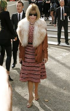 Anna Wintour attends Burberry's show at London Fashion Week.