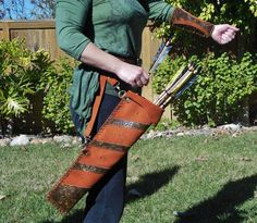 Arrow Hip or Belt Quiver with Armguard Handcrafted | eBay