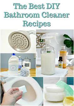 The best DIY Bathroom Cleaner Recipes including how to clean a showerhead, homemade all-purpose cleaner, DIY toilet cleaner, 3 ingredient toilet cleaning bombs, and homemade bathtub cleaner scrub made with Castile soap, essential oils, baking soda and vinegar. via @Mom4Real