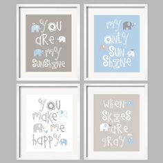 Tú eres mi sol azul y gris Art Prints con elefantes lindos y pajaritos, alegres y con un montón de detalles. Se ve genial con Taylor vivero del lecho
