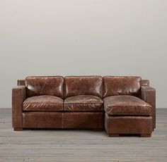 Restoration Hardware, Collins Leather Sofa Chaise Sectional