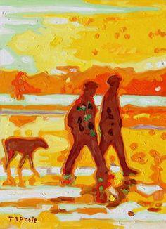 "Saatchi Art Artist Bertram Poole; Painting, ""Sunset Silhouette Beach Walk with Dog oil painting Bertram Poole"" #art"