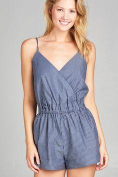 521fb11d81a5 Ladies fashion surplice cami plunging v-neck wrap stripe woven romper
