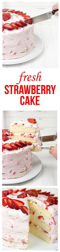 Fresh Strawberry Cake   This cake features loads of fresh strawberries and a light whipped cream topping. It's PERFECT for summer!!