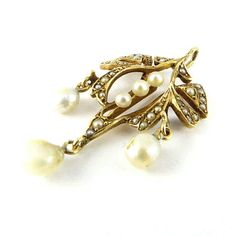 Victorian 13k drop and seed pearl pendant. No date given.