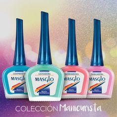 Colección Manicurista #SoyMasglo #Masglo #MasgloLOVERS #ColeccionManicurista #NailPolish Chia, Nail Art, Candy, Nails, Glaze, Shades, Drink, Closet, Food