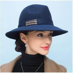 Simple navy fedora hat for women wool felt hats with hatband f68d47ae3ef