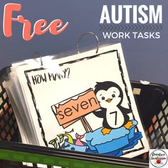 Free Penguin Task Box Math Printable for Special education classrooms!
