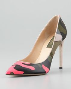 All things CAMO!!  Rockstud Neon Camo Simple Pump by Valentino at Neiman Marcus.