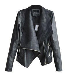 5aa282a00b1 Womdee Women s Double Lapel Zipper PU Jackets Coat With Womdee Accessory   Amazon.co.