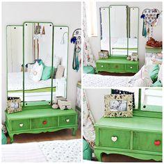 Bútortuning: antik és neonzöld - kép: Judit Vigvari Design Art Deco Furniture, Paint Furniture, Furniture Makeover, Chalk Paint, Wardrobe Rack, Toddler Bed, House Design, Retro, Interior