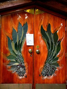 Beautiful stained glass on wood