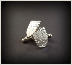 We were asked to make hand engraved Sterling Silver GAA Cufflinks with the customers club crest recently. Such a wonderful idea for a gift for the GAA fanatics out their. Family Shield, Shield Design, Irish Jewelry, Family Crest, Hand Engraving, Precious Metals, Handcrafted Jewelry, Cufflinks, Jewelry Design