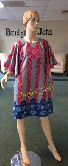 Pink and Royal Blue Ankara Aline Dress