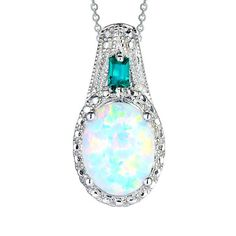 Lab-Created Opal & Emerald Pendant in Sterling Silver. I love opal, never seen it paired with emerald before. They look great together here!