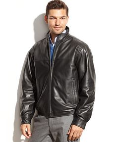 Perry Ellis Smooth Leather Bomber Jacket 199.00  12/1/14  all sizes
