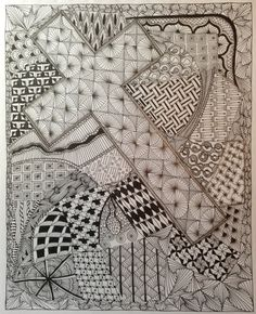 Zentangle. It takes all kinds. MMK. Tangle Art, Tangle Doodle, Doodles Zentangles, Doodle Patterns, Zentangle Patterns, Doodle Drawings, Doodle Art, Cross Art, Zen Art