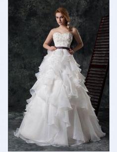 Bridal Dresses Off Shoulder Sweet Heart Organza A Line Flowers Train Wedding Bridal Dress  Check it out at www.e1weddingdress.com