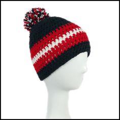 Black Red & White Hat | Crochet Hat | University of Cincinnati | UC Bearcats | Georgia Bulldogs | Atlanta Falcons | Puff Ball