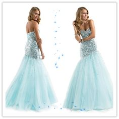 Sequined Corset Tulle Sweetheart Mermaid Floor Length Prom Dress
