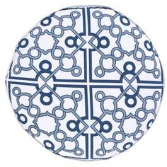 Mughal-inspired cotton pillow with a plush feather insert. Showcases a trellis motif in navy and white.   Product: PillowConstruction Material: 100% Cotton cover and down fillColor: NavyFeatures: Insert includedDimensions: 20 Diameter