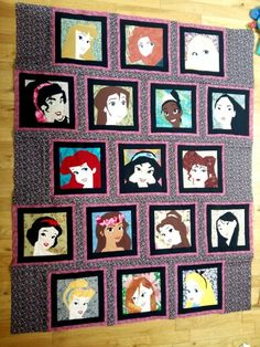 Disney princess and leading ladies quilt. Paper pieced. Patterns on fandominstitches. Pieced by Hannah Hughes.