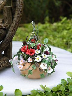 Miniature Dollhouse FAIRY GARDEN Accessories ~ Mixed Flowers in Hanging Pot NEW
