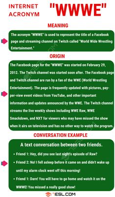 "The acronym ""WWWE"" is not one you will hear often unless you happen to be a fan of one particular sport or know someone who is. If you have come across this acr Other Ways To Say, Twitch Channel, Text Conversations, Wwe World, Improve Your English, English Lessons, I Fall, Esl, How To Fall Asleep"
