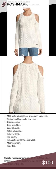 Michael Kors Cable-Knit Cold Shoulder Sweater (M) New Cute MICHAEL Michael Kors Cold-Shoulder Cable-Knit Sweater. Machine washable  Michael Kors sweater would make a great Christmas gift. MICHAEL Michael Kors Sweaters