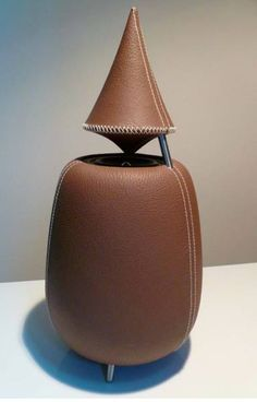 A leather-covered 'Drop' speaker from SOEE Soundesign