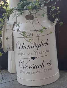 Declaration furniture tattoo white stamp suitcase, cupboard, for dairy … Shabby wasserf.Declaration furniture tattoo white stamp suitcase, cupboard, for dairy … Old Cds, Shabby Look, Gris Rose, Waterproof Stickers, Milk Cans, Shabby Vintage, Crafty Projects, Cushions On Sofa, Cupboard