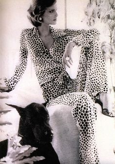 Cheryl Tiegs in a Diane Von Furstenberg wrap two-piece pantsuit. Photo by Bob Stone for Vogue