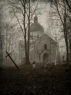 Abandoned Cemetery and Church in the woods, these places are seriously so cool! Abandoned Buildings, Abandoned Mansions, Abandoned Places, Abandoned Castles, Abandoned Library, Abandoned Hospital, Abandoned Cars, Spooky Places, Haunted Places