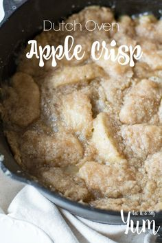 Dutch Oven Apple Crisp recipe- tender apples with a sweet, buttery topping