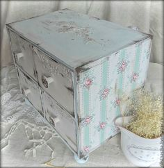 mini chest of drawers in the technique of decoupage