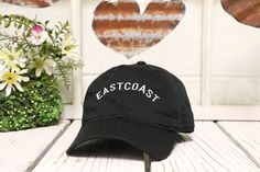EASTCOAST Baseball Hat Embroidered Black Polo Baseball Cap Low Profile Curved Bill  ✷ Baseball Cap  ✷ One Size adjustable strap, buckle design