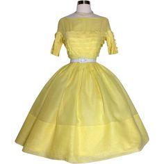 Vintage 1950s Dress | Yellow Dress | Miss Elliette Dress | 50s Dress | Rockabilly Dress | 1950s Party Dress | Designer Dress |