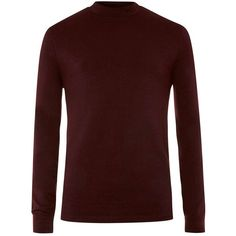 TOPMAN Burgundy Turtle Neck Long Sleeve T-Shirt (£15) ❤ liked on Polyvore featuring men's fashion, men's clothing, men's shirts, men's t-shirts, red, mens polo v neck t shirts, mens turtle neck shirts, mens red t shirt, mens turtleneck shirt and mens long sleeve cotton shirts