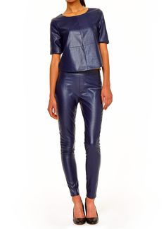 Blue Vegan Leather Top