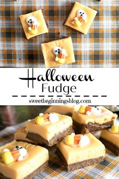 Halloween Fudge is a double layer of chocolatey deliciousness with a bottom layer of chocolate topped with a layer of orange white chocolate and a cute little ghosty treat! #HalloweenFudge #Fudge #HalloweenTreatsWeek #SweetBeginningsBlog #dessert #Halloween Chocolate Topping, Semi Sweet Chocolate Chips, Melting Chocolate, White Chocolate, Halloween Themed Food, Halloween Appetizers, Halloween Treats, Holiday Foods, Holiday Recipes